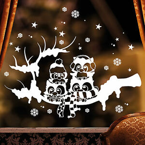 10991-Sticker-mural-Fenetre-Autocollant-hiver-Hiboux-Branche-Noel-neige-Blanc