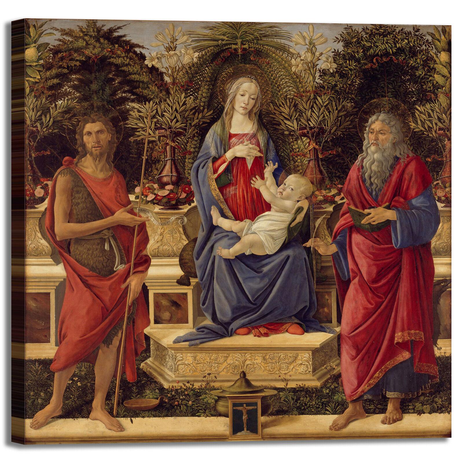 Botticelli Madonna e santi design quadro stampa tela dipinto telaio telaio telaio arrossoo casa adf6ce