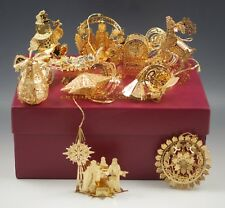 2004-09  DANBURY MINT GOLD CHRISTMAS ORNAMENT COLLECTION SET 12 PIECES-BOXED