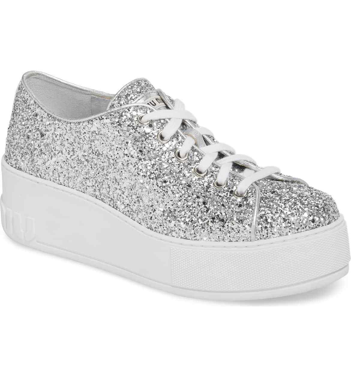 New Auth. Miu Miu Glitter Silver    Platform Sneaker 40 US 10 012d7a