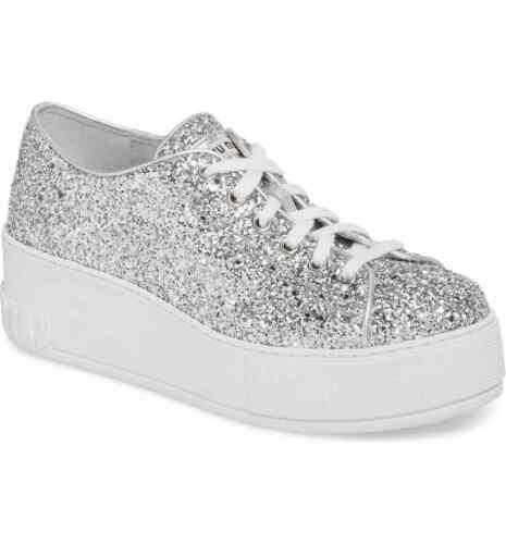 verificatieMiu 9 Nieuwe Glitter Sneaker 39us Platform Silver 3AL5Rj4