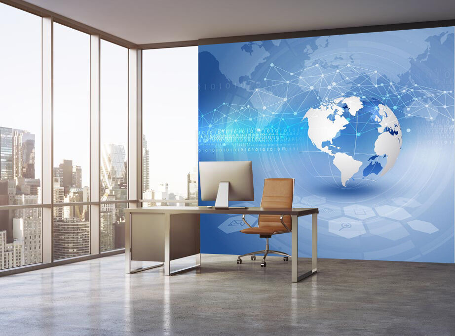 3D Blau abstract earth Wall Paper Print Decal Wall Deco Indoor wall Mural
