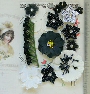 BLACK-amp-WHITE-Mix-13-Paper-amp-Satin-Flowers-8-Styles-10-50mm-across-VD4