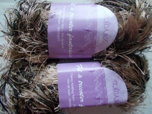 brown//beige eyelash Tendance fancy knitting yarn lot of 2