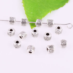 Wholesale-50-500pcs-Antique-Silver-Metal-Spacer-Loose-Beads-DIY-Jewelry-Making