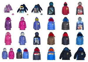 Boys-Girls-Kids-Character-Winter-Padded-Jacket-Coat-Hooded-age-2-12years