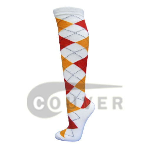 4 packs White Argyle Ladies Colorful Variety Design Assorted Knee High Socks