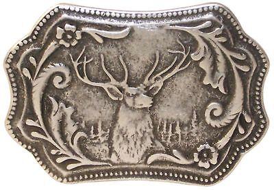 FRONHOFER Trachten Gürtelschnalle Hirschkopf Silber Schnalle 4,5 cm