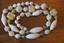 Ventian Murano Glass Bead Necklace Antique Wedding Cake Sterling Silver Jewelry