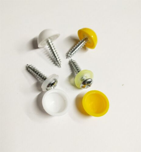 Caravan Trailer Licence Number Plate 4x Screws /& 4x Domed Caps Yellow /& White