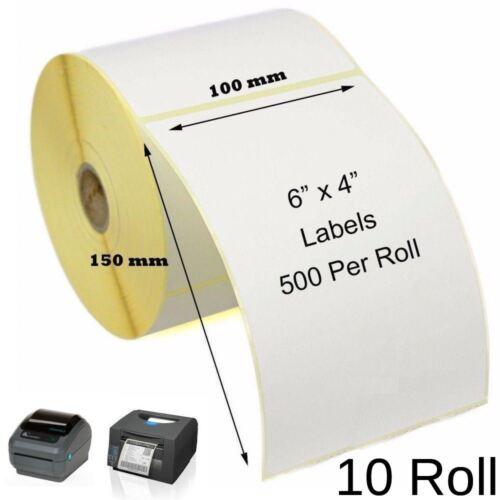 """10 ROTOLO 4 x 6/"""" Etichette Termico Diretto con PERF cittadino Toshiba Stampanti Zebra"""