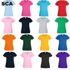 Fruit-of-the-Loom-Plain-Blank-Women-039-s-Ladys-Tee-Shirt-Tshirt-T-Shirt-ladies