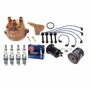 Toyota Corolla 1.6 1.8L Cap-Rotor-NGK Wires-Platinum Spark Plug-PCV-Filter Kit