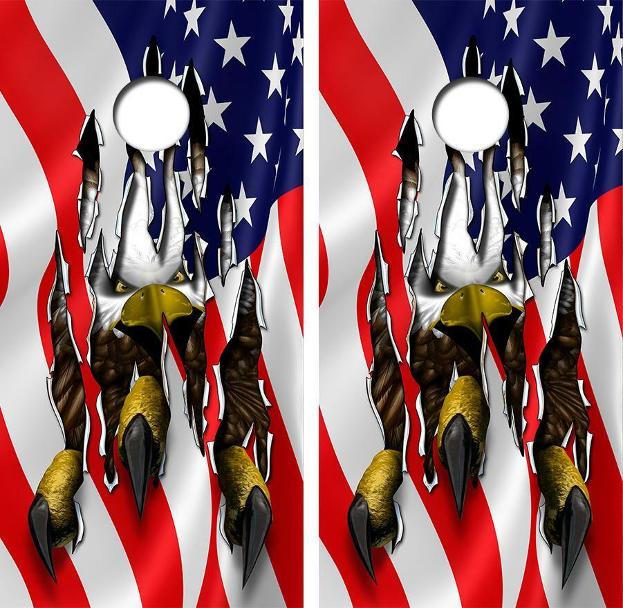 American Flag Eagle Tear Cornhole Board Skin Wrap FREE Laminate