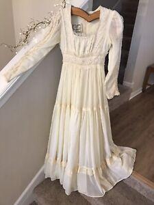 Vintage-Gunne-Sax-Prairie-Dress-Full-Sweep-Boho-Lace-Ivory-Wedding-70-039-s-sz-S