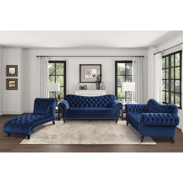 Indoor Chaise Lounge Chair Sofa Navy Blue Living Room Velvet Modern Style Tufted For Sale Online | EBay