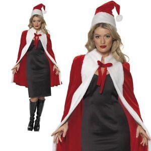 De-Lujo-De-Navidad-Santa-Claus-Cape-MISS-Papa-Noel-Vestido-de-fantasia-Traje-Delux