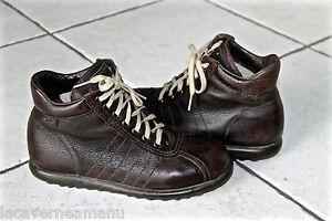 chaussures-en-cuir-graine-marron-CAMPER-pointure-37-excellent-etat-garcon