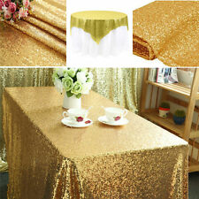 Dining Table Rectangular Decor Wedding Birthday Party Sequin Table Cloth Gold