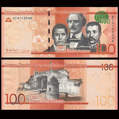 190a 100 Pesos 2014 Prefix AC UNC Dominican Republic Banknote P