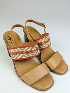 Frye Amy Woven Sandal Wedge Red Brown Sz 8 5 18310 Ebay