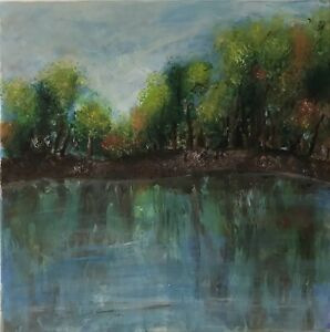 Original acrylic on canvas painting by Helen Stamp. Landscape Art, 40x40cm