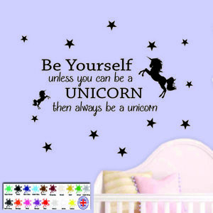 Details about Unicorn Wall Sticker Quote - Children\'s Bedroom Wall Art  Stars Girls Decal Vinyl