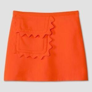 4861df797 Details about Victoria Beckham for Target Orange Scallop Trim Twill Skirt  Women's 2X NWT