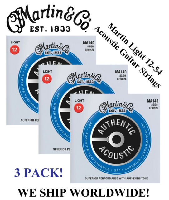 3-Pack 80//20 Bronze Light 12-54 Martin MA140 Authentic Acoustic SP Strings