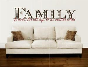 Family Forever For Always No Matter What Vinyl Decal Wall Sticker Words Letters