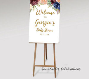 Details About Printable Baby Shower Custom Welcome Print For Party Decoration Sign Burgundy