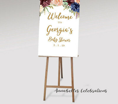 Gold Swirls Welcome Sign for Baby Shower Personalized Poster