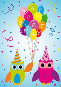 2 Postkarten Happy Birthday 2 Eulen Geburtstagskarte Eule Kinder