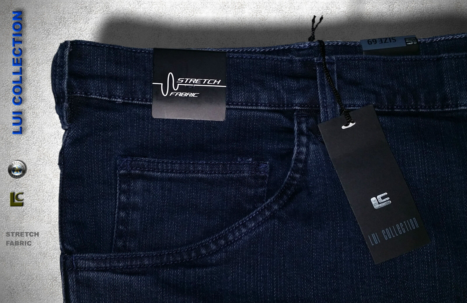 JEANS LUI COLLECTION CALIBRATO STRETCH BLU SCURO MISURA MISURA MISURA  73 dd6528