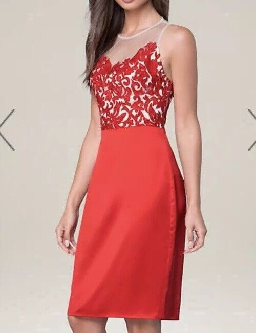 NWT Bebe Red EMBROIDERED BODICE Dress, size 8