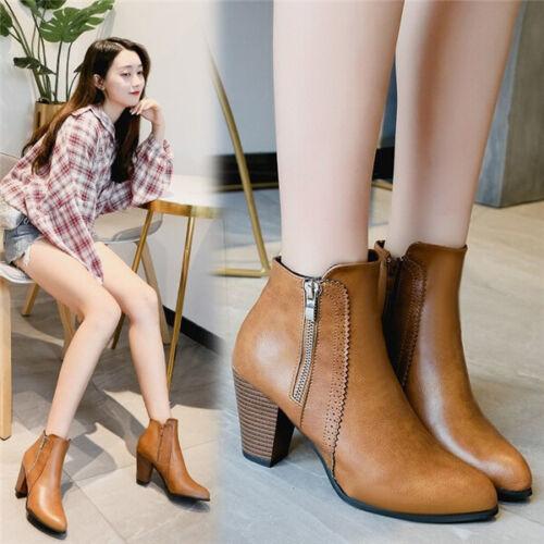 Ladies Women Smart High Heel Block Cowboy Style Zip Ankle Boots Comfy Shoes Size