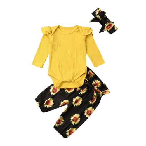 Infant Baby Girls Kid Romper Bodysuit Cotton Tops Sunflower Pants Outfit Clothes