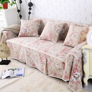 Image Is Loading Floral Cotton Linen Slipcover Sofa Cover OAUl Protector
