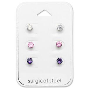 6-Piece-Silver-Cubic-Zirconia-Pink-Purple-Crystal-Surgical-Steel-Stud-Earrings