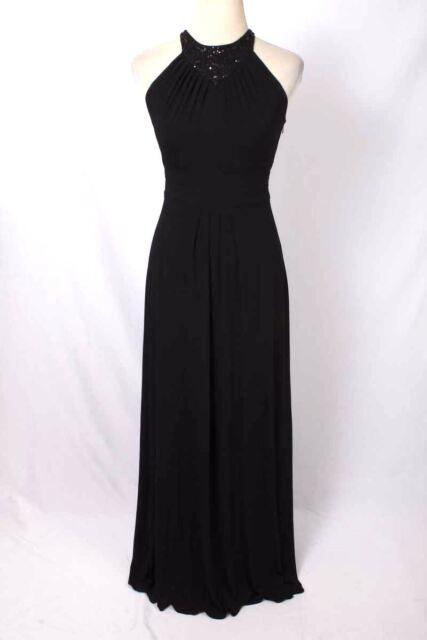 6946397ac01 Calvin Klein Size 6 Black Embellished Neck Empire Waist Maxi Dress 257 ST517