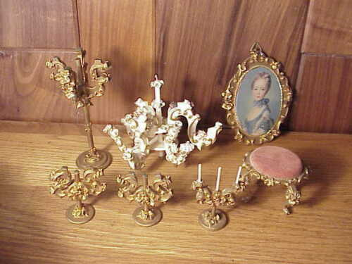 VINTAGE SPIELWAREN BOUTIQUE SZALASI ROCOCO DOLL FURNITURE FANCY TABLETOP  LAMP