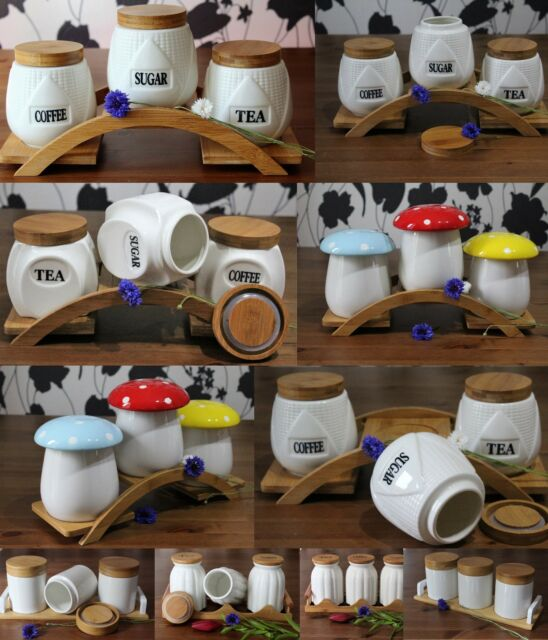 Tea Coffee Sugar Kitchen Jars Ceramic Canisters Kitchen containers& bamboo Lids