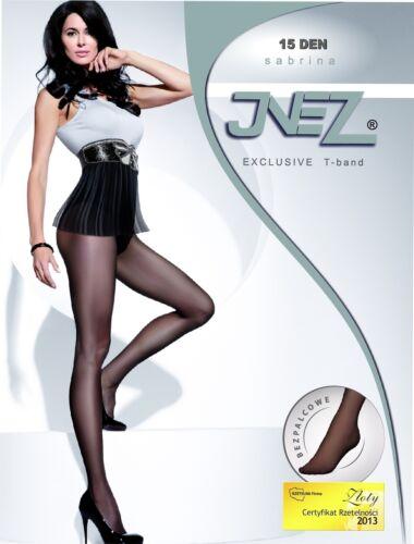 "Womens Ultra Sheer Tights BY Inez /""SABRINA/"" 15 Denier T-Band Clear Plain"