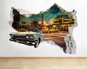 Q029w-coches-Salon-retro-del-Smashed-p-pegatina-pared-vinilo-3d-habitacion-ninos