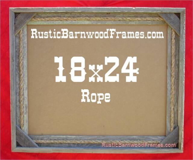 20x24 Rope rustic barnwood barn wood photo frame primitive weathered aged beach