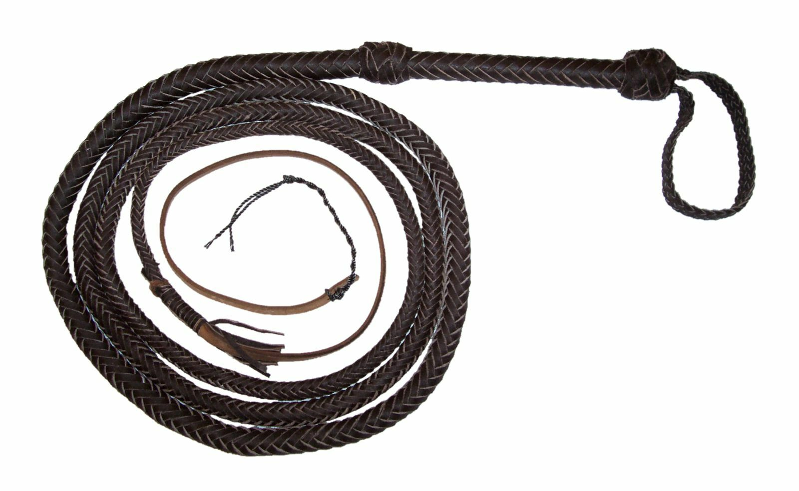 10 ft 12p Dark Brown Real Leather Bullwhip Indiana Jones Action Bull whip
