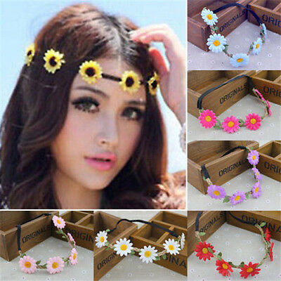 Boho Daisy Hairband Headband Wedding Festival Elastic Flower Hair Garland