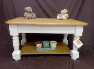 Solid Pine Coffee Table Chunky Farmhouse Country Rustic Cottage Style Painted Ebay