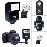 Slave Vivitar Flash + Remote + Charger + 4 Batteries For Nikon D3400 D5000 D5100