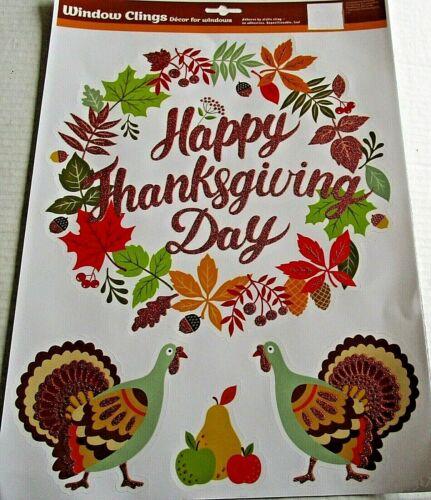 FALL Window Cling  HAPPY THANKSGIVING DAY//FALL WREATH /& TURKEYS